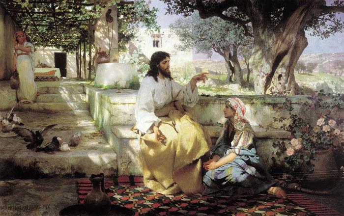 Генрих Ипполитович Семирадский «Христос уМарфы иМарии». 1887г.